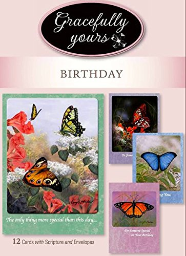 Gracefully Yours Blessed Birthday Greeting Cards Featuring Butterflies by Artist Larry Martin, 12, 4 Designs/3 Each with Scripture -