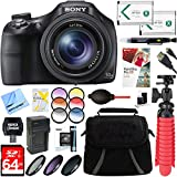 Sony DSC-HX400V 50x Optical Zoom 4K Stills Digital Camera Bundle with 64GB Memory Card, Camera Bag, 55mm Filter Kit, 55mm Filter Set, Battery, Paintshop Pro, HDMI Cable and Accessories (8 Items)