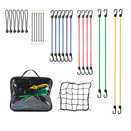 "24PCS Bungee Cord Hook Assortment with Plastic Coated Metal Hooks, Include 2 x 40"", 2 x 32"", 4 x 24"", 6 x 18"", 6 x 10"" & 4 x 8"" and 1 Cargo Net"
