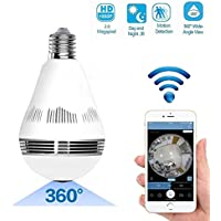 Kabel Leader Wifi Wireless Fisheye Lens 360°Wireless Panoramic HD Camera 1600X1280(2.0MP),LED Bulb Home Security System With Real Time Monitoring And Intercom