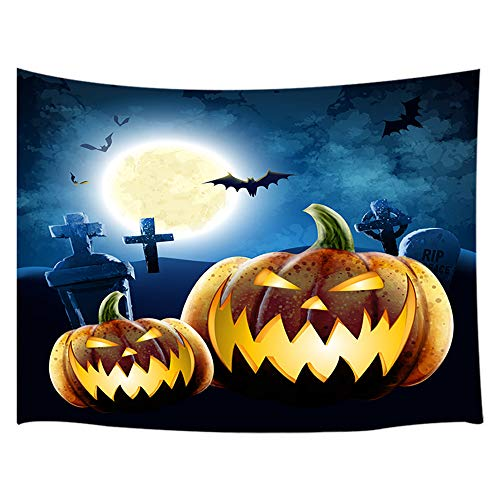 Halloween Tapestry, Gothic Halloween Pumpkin Lantern Bat at Moon Night Scary Haunted and Misty Forest Tapestry Wall Hanging, Wall Tapestry for Bedroom Living Room Dorm TV Background, 71X60 in]()