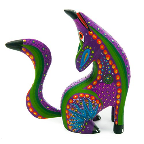 - PURPLE HOWLING COYOTE Handcrafted Oaxacan Alebrije Wood Carving Mexican Folk Art Sculpture Painting