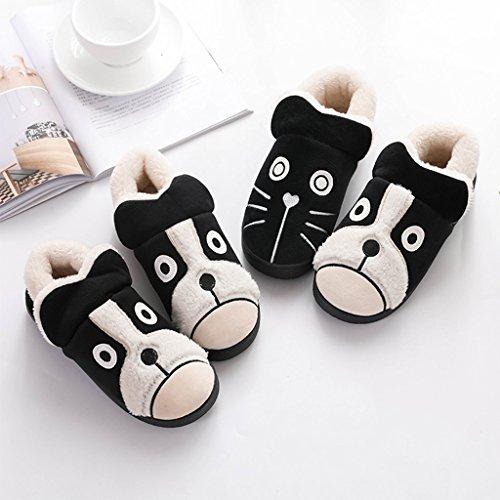 dessin animé femelle d'hiver coton chaussures mignon DWW antidérapantes chaudes A de Chaussons noir Pantoufles 8CZw0q