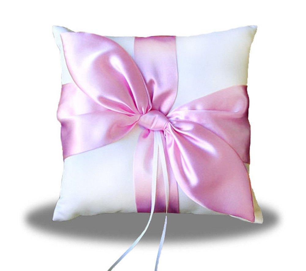 SACASUSA(™) Pink Satin Bow IVORY Wedding ring pillow bearer