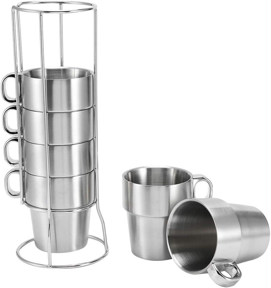Juego de tazas de caf/é de agua de acero inoxidable con aislamiento t/érmico caf/é con leche taza de t/é taza de caf/é expreso anti escaldaduras con soporte para tazas taza de caf/é expreso