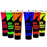 Beauty : UV Glow Blacklight Face and Body Paint 0.34oz - Set of 6 Tubes - Neon Fluorescent