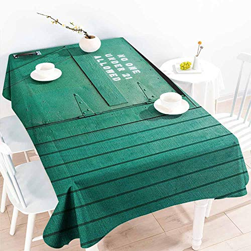 Fashions Rectangular Table Cloth,Teal Monochrome Vintage Wooden Local Irish Pub Rustic Door with Warning Phrase Culture Photo,Table Cover for Kitchen Dinning Tabletop Decoratio,W60x84L Teal