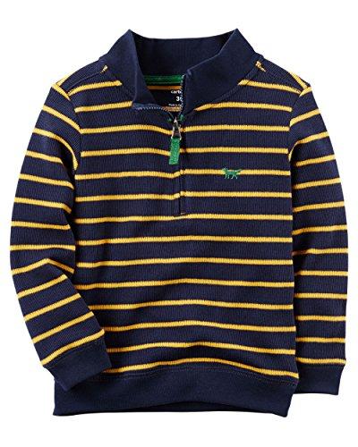 Carter's Boys Half-Zip Striped Sweater, Blue/Yellow, (3 (Half Zip Striped Sweater)