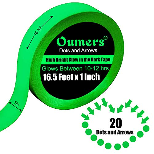 - Glow in The Dark Tape, Oumers Luminous Tape - 16.5ft x 1inch - High Bright Luminous Glow Tape Sticker for Safety Stairs, Light Switches, Exits, Decals | Glow-in-The-Dark Luminous Photoluminescent