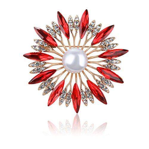 (Tagoo Multi Circles Vintage Brooch Safety Pin Clip in Crystal Pearl for Women&Girls, Wedding/Banquet/Bouquet (Sunflower Red 1.92