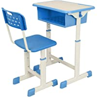 Knocbel Lifting Student Desk and Chair Set, Adjustable Height Children Home School Workstation with Side Hooks for 3-14 Years Old Kids (Blue)