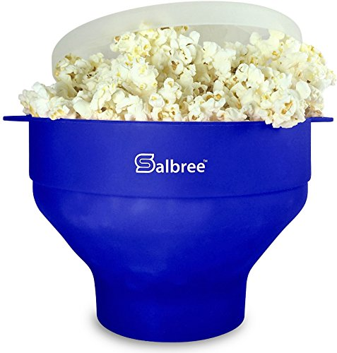 The Original Salbree Microwave Popcorn Popper, Silicone Popcorn Maker, Collapsible Bowl BPA Free (Blue) (Shape Popcorn)