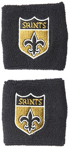 Pro Specialties Group NFL New Orleans Saints Wristbands, Black, One Size