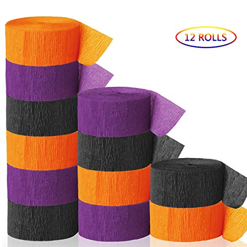 Halloween Paper Garland Crafts (Ginfonr 12 Rolls Halloween Crepe Paper Streamers Craft Streamers Garland Hanging Classic Backdrops Decorations for Hallowmas Festival Party Ornaments(4 Black + 4 Oranger + 4)