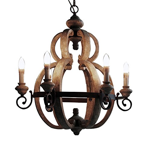 KunMai Rustic Retro Candle-Style Wood and Rust Metal Vintage Pendant Chandelier with 6 Uplight Review