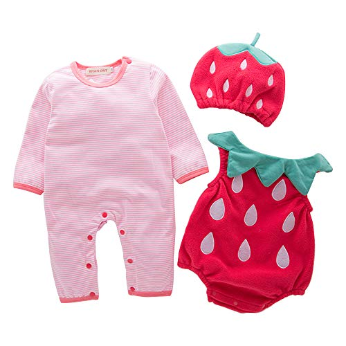Spring Fever Baby Toddlers Halloween Christmas Costume Romper Bodysuit Hat Set Strawberry 70 (3-6M)