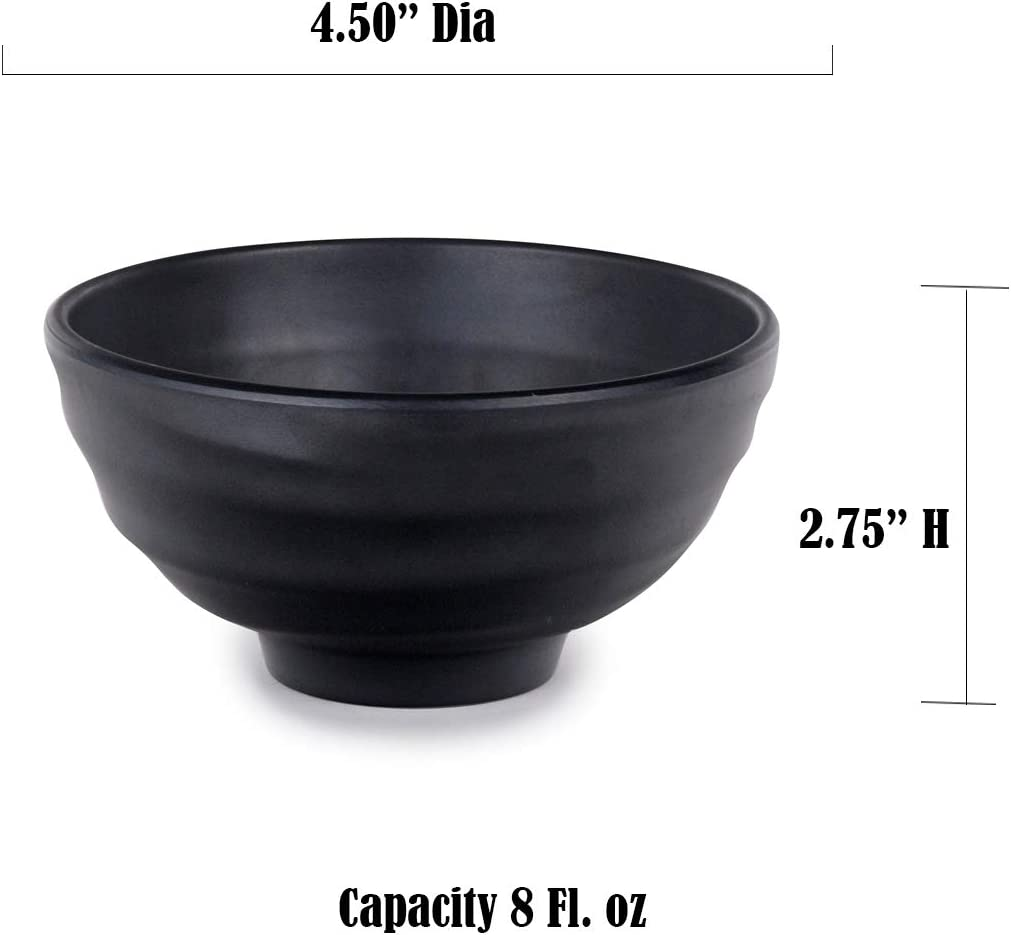 Itamae Tableware Matte Black Melamine Small Bowl 4.5 Dia x 2.75 H Multi Purpose Dessert Ochawan Rice Bowl 12 Pieces Pack Restaurant Supply