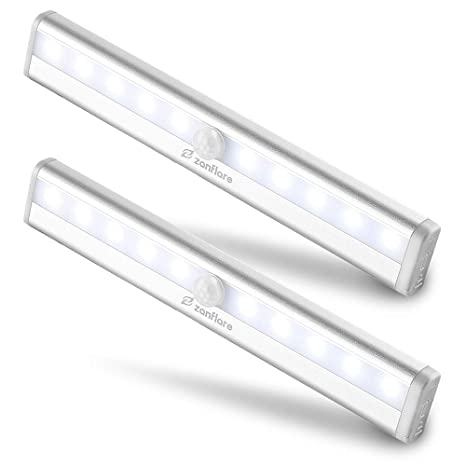 Lámpara LED de Armario, Zanflare Barra de Luz con Sensor de Movimiento 10 LEDs Lámpara