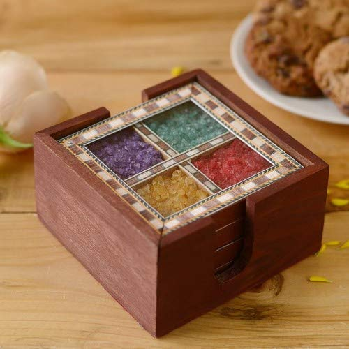 Crafticia Wooden Gem Stone Tea Coaster of 4 Plates Handmade For Coffee Beer Glasses or Cup (4X4 INCH) Price & Reviews