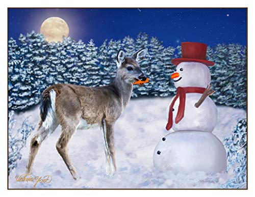 Fine Art Note Card: Snowman and Deer (Item # 08-016-00)