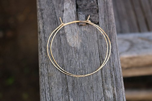 Thin 14K gold filled hoops hammered texture 2
