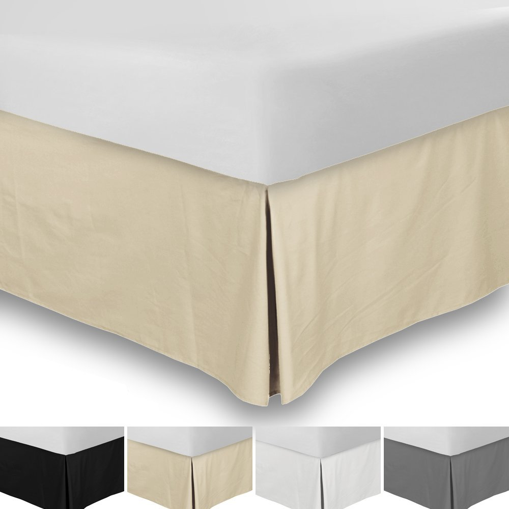 SRP Bedding Real 350 Thread Count Split Corner Bed Skirt/Dust Ruffle Queen Size Solid Beige 12'' inches Drop Egyptian Cotton Quality Wrinkle & Fade Resistant