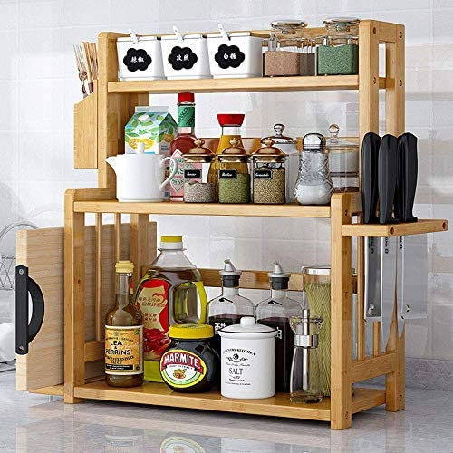 キッチンラックカウンタートップ調味料スパイスラック、バニララック、ナイフラックマルチレベルの高さ調整可能