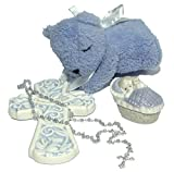 Baby Christening/Baptism Gift Set with Crib Wall Cross, Praying Bear and Rosary Beads in Keepsake Box for Christening Boys and Girls (Blue)