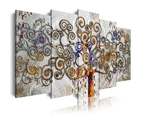 DekoArte 477 - Cuadros Modernos Impresion de Imagen Artistica Digitalizada | Lienzo Decorativo para Salon o Dormitorio | Estilo Abstractos Arbol de la Vida de Gustav Klimt Plata | 5 Piezas 150x80cm