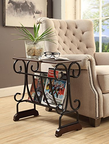(Espresso Finish Black Metal Side End Table Scroll Design with Magazine Rack Holder)