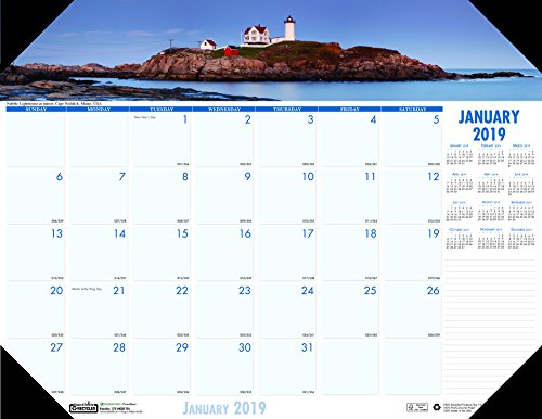House of Doolittle 2019 Monthly Desk Pad Calendar, Earthscapes Coastlines, 22 x 17 Inches, January - December (HOD178-19)