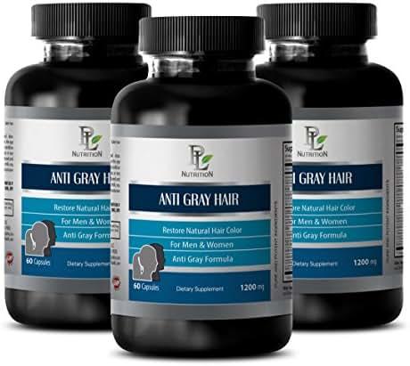 Hair Care Vitamins - Anti Gray Hair 1200 MG - Restore Natural Hair Color - biotin and pantothenic Acid - 3 Bottles 180 Capsules