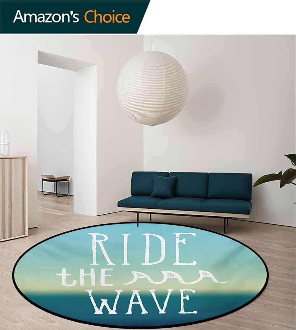 Ride The Wave Machine Washable Round Bath Mat,Ride The Wave Quote With Ocean Horizon Background Graphic Art Non-Slip No-Shedding Bedroom Soft Floor Mat,Diameter-59 Inch Petrol Blue Mint Turquoise