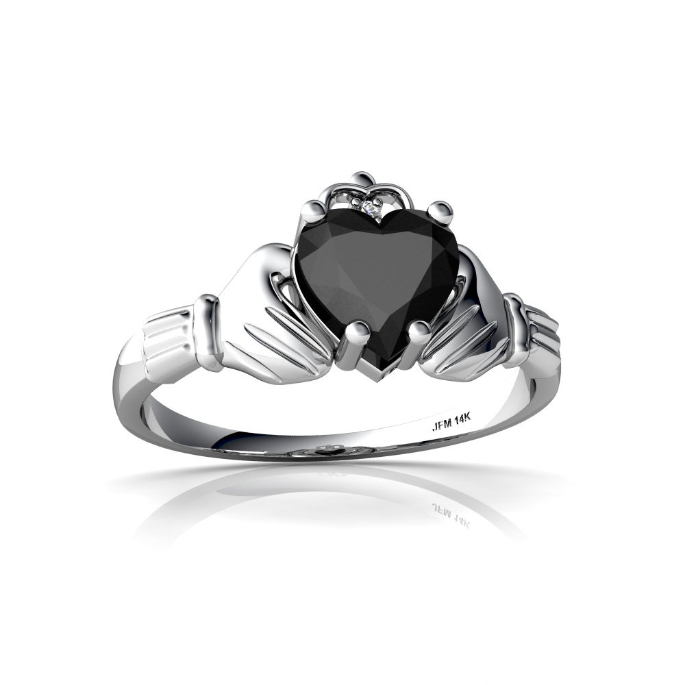 Incroyable Amazon.com: 14kt Gold Black Onyx And Diamond 6mm Heart Claddagh Ring:  Jewelry