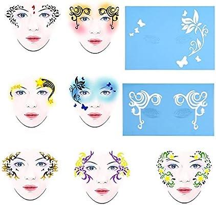 Delaman Plantilla de Pintura para la Cara Plantilla de Pintura para Tatuaje Reutilizable Body Art Flower Facial Herramientas de Diseño para Maquillaje 7styles / Set (Pattern : #1): Amazon.es: Hogar