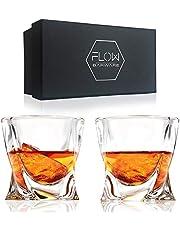 Flow Barware set met 2 whiskyglazen met ruitpatroon, hoogwaardig, kristalhelder, glasproduct, ruitendesign, perfect voor Scotch, Bourbon Gin & Tonic, cocktails in geschenkdoos.