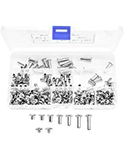 230 pcs Chicago Binding Screws Assorted Kit, Metal Round Cross Head Stud Screw Posts Nail Rivet Chicago Button for DIY Leather Decoration Bookbinding - M5 x (5/6/8/10/12/15/18 mm)