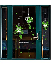 Dubbelzijdige plantenstickers raamdecoratie stickers, groene planten wanddecoratie sticker, verwijderbare doe-het-zelf zelfklevende muurschildering voor woonkamer slaapkamer koffiewinkel glazen deur decoratie