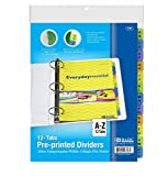 Three Ring Binder Dividers, Index Colored Binder Dividers with Tabs