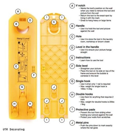 Suspension Measurement Marking Position Tool,Hang and Level Picture Hanging Tool and Horizontal Wall of The Roof, Perfect to Hang Pictures, Mirrors and Clocks, Yellow by GG Life (Image #7)