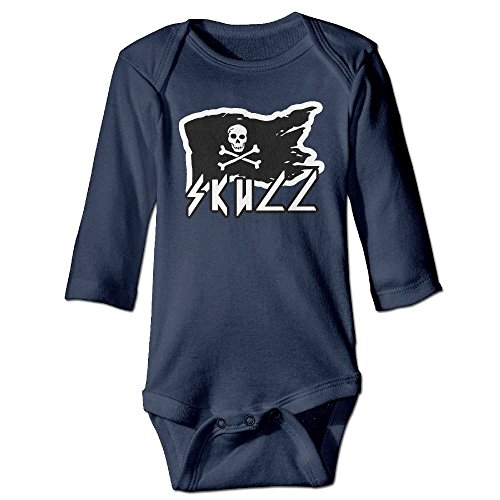 7r4e Baby White Pirate Skull Infant Cotton Simple Outfit Long Sleeve Bodysuit