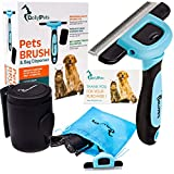 Dog Brushes for Shedding - Professional Deshedding Tool for Dogs and Cats with Bag Dispenser,15 Waste Bags and Drawstring Storage Pouch (L, black)