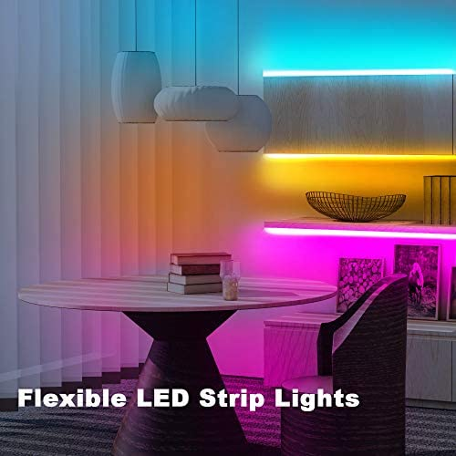 Phopollo Led Strip Lights, 30ft 5050 Flexible Led Lights with 44 Keys Remote Controller and 12V Power Supply for Bedroom