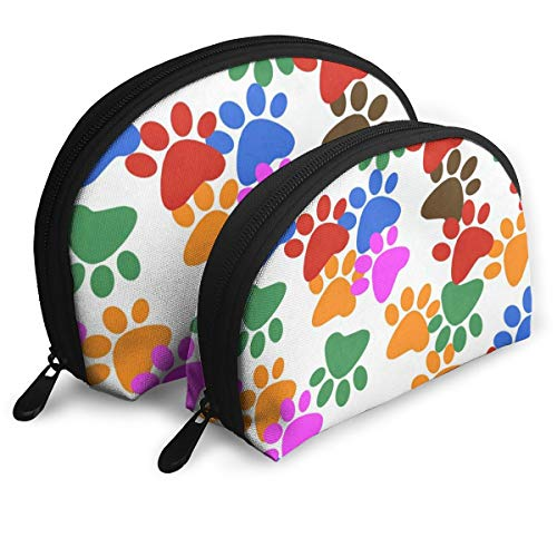 (Pouch Zipper Toiletry Organizer Travel Makeup Clutch Bag Colorful Footprint Dog Paw Print Portable Bags Clutch Pouch Storage)