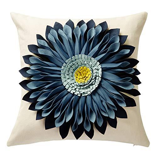 Covers Pillow Decorative Handmade - OiseauVoler 3D Sunflower Throw Pillow Cases Handmade Decorative Cushion Covers for Home Sofa Car Bed Room Decor 18 x 18 Inch
