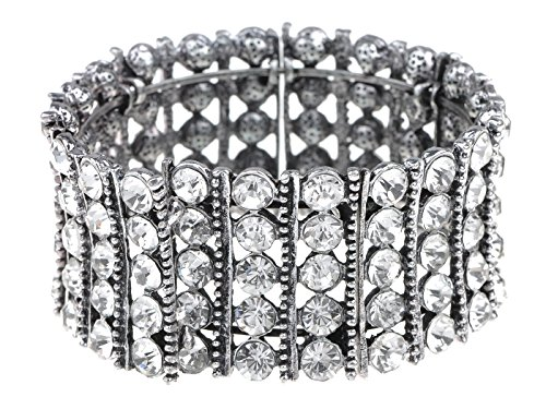 Chunky Rhinestone Bracelet - Alilang Classy Elegant Silver Tennis Rhinestone Bridal Crystal Jewelry Bangle Cuff Bracelet