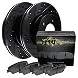 Front Black Hart Drilled Slotted Brake Rotors Disc and Ceramic Pads Astro,Safari