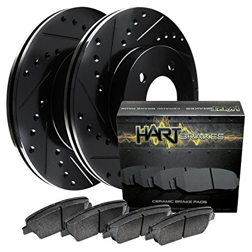 Fits 1990 Nissan 300ZX Rear Black Drill Slot Brake Rotors + Ceramic Brake Pads