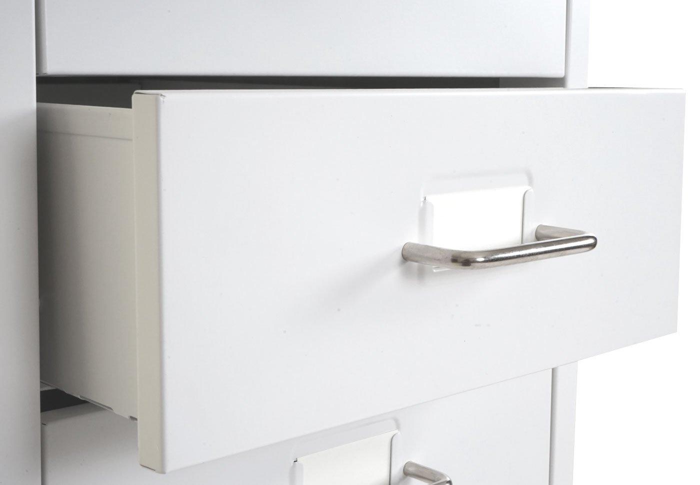 Mendler Cassettiera armadietto Ufficio Boston T851 con Ruote 8 cassetti 109x28x44cm Bianco