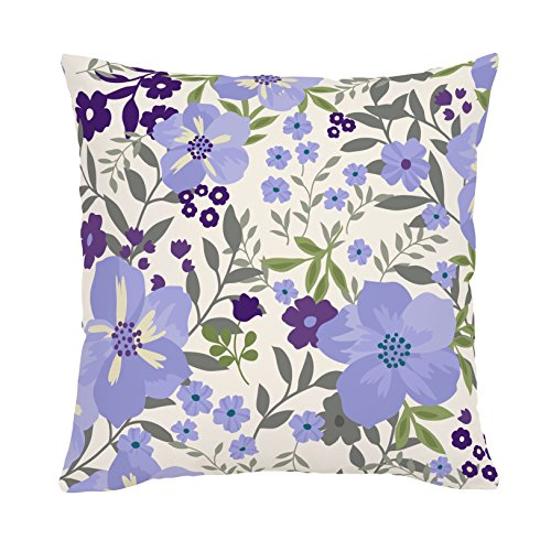 Carousel Designs Lavender Floral Tropic Throw Pillow 18-Inch Square Size
